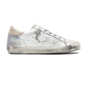 GGDB metallic leather and suede sneakers